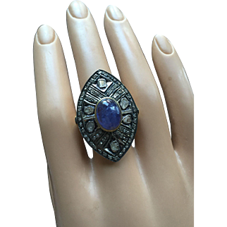 Large Cocktail Ring 35 mm Long 18K Gold over Sterling Silver 3.7ct Tanzanite 1ct Dia Size 8
