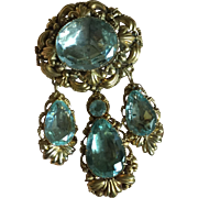 """Stunning Antique Late GEORGIAN Early Victorian 18 karat Gold Large PIN BROOCH 3"""" with THREE DETACHABLE PENDANTS Gold and Aquamarine Paste"""