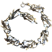 "Antique Victorian Gold over Sterling Silver Linked Bracelet with Cultured Pearls and Leaves 7 3/8"" Long"