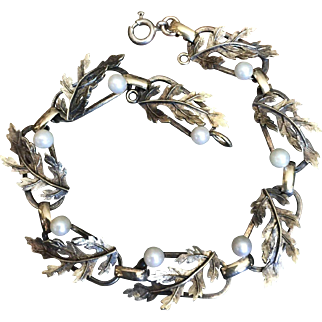 """Antique Victorian Gold over Sterling Silver Linked Bracelet with Cultured Pearls and Leaves 7 3/8"""" Long"""