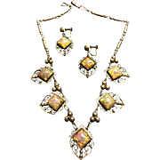 Circa 1930's Art Deco Necklace Earrings Sterling Silver Dragon's Breath Set Crown Mexican Mark