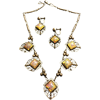 Necklace and Earrings Sterling Silver Dragon's Breath Set Circa 1930's Crown Mexican Mark