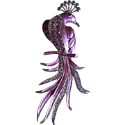 Circa 1960's Extravagant Large Pink Enamel Bird with Pink Rhinestones Pin Brooch 140 mm