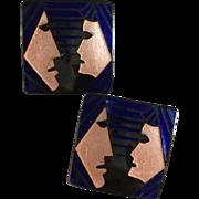 Modernist LOVERS Enamel on Copper Square Shaped Earrings for Pierced Ears