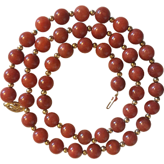 Beautiful Natural Undyed Rusty Russet Red Jade 14 Karat Gold Necklace Excellent Quality