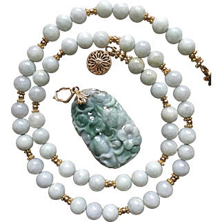 Wonderful Vintage Chinese Carved Jade 14 Karat Gold Enhancer Pendant on 8 mm Jade Bead Necklace