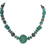Turquoise Necklace with Large Carved Chinese Turquoise Bead and Enameled Beads