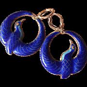 Vintage Chinese Cobalt Blue Enamel Birds Earrings Sterling Silver Puffy Pendants 45 mm 10.9 grams