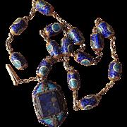Antique Chinese Export Blue Enamel Cloisonne Barrel Beads Necklace Pendant with Bats Lapis Lazuli Gilt Silver