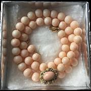 Wonderful 1940's Italian Mediterranean Pink Angel Skin Coral 18K Gold Necklace Earrings SET 64 grams