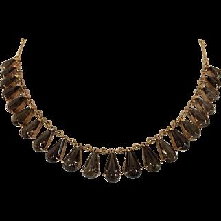 Vintage Retro Teardrop Smoky Quartz Festoon Necklace Gold Filled