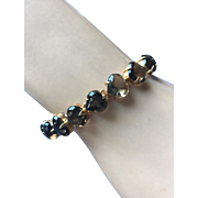 "Vintage Retro Hearts Smoky Quartz Gold Filled Heart Tennis Bracelet Length 7 5/8"""