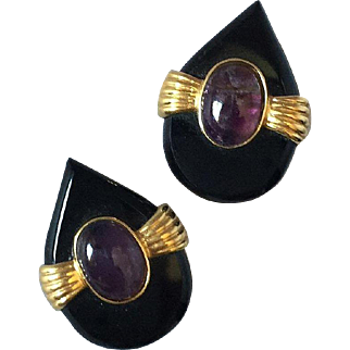 Modern Amethyst Onyx Earrings Large Clips 30mm x 23mm Circa 1980's