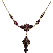 Antique Bohemian Garnet Necklace with Garnet Drop Pendant