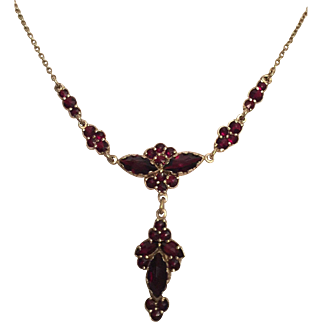 Antique Bohemian Garnet Necklace with Garnet Drop Pendant