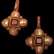 "Vintage Georgian Replica Garnet Pearl Gold Wash Silver Earrings 1"""