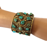 Magnificent Antique Chinese Export Repousse Cuff Bracelet with Tree and Turquoise Flowers 50 mm wide