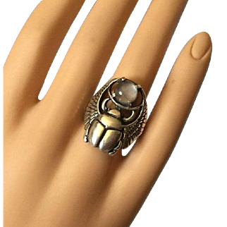 Art Deco Egyptyan Revival Winged Scarab Sterling Silver Ring with Moonstone Size 8.5 UNISEX