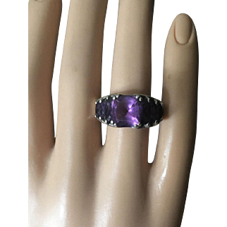 Vintage Deep Purple Amethyst Cocktail Silver Ring with Tanzanite Size 7