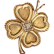 Old Vintage Shamrock Four Leaf Clover Gilded Sterling Diamond Pendant Charm With Engraving FOR MOTHER WITH LOVE