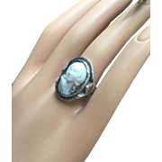 Antique Victorian Carved High Relief Cameo Woman Ring 14K White Gold Size 6.5