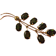 Antique Green Tourmaline Bouquet Brooch 18K Gold Tourmaline 6.3 ctw