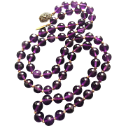 "Vintage Deep Purple Chinese Amethyst Graduated Necklace Hand Knotted Round Amethyst Beads 31"" Long"