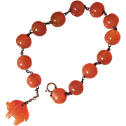 Vintage Chinese Art Deco Orange Carnelian Silver Station Beads Bracelet with Carnelian Trump Up Elephant Charm