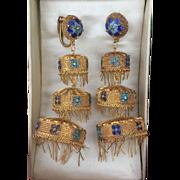 Rare Chinese Export Three Tiers Fringed Chandelier Earrings 74 mm Gilt Silver Filigree Enamel Original Box