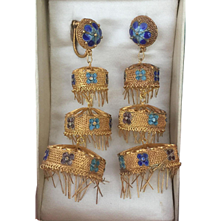Rare Chinese Export Three Tiers Fringed Chandelier Earrings 74 mm Gilt Silver Filigree Enamel Original Box