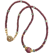 "Elegant Natural Ruby Beads Necklace Aquamarine Beads Vermeil Silver Accents 17"" Long 19.2 grams Over 60 Carats Gemstones"