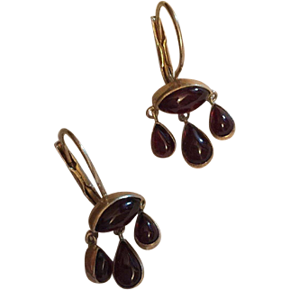 Vintage Adorable Garnet Chandelier Earrings with Three Drops Gilt Silver