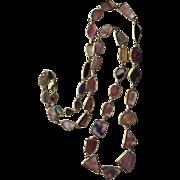 """Vintage Large Tourmaline Slices in Bezel Set Gold on Sterling Silver Necklace Pink Green 34"""" Long 34.5 g"""