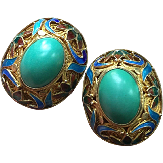 Magnificent Chinese Turquoise Earrings for Pierced Ears Champleve Enamel Gold on Silver 32 mm Large Circa 1970's