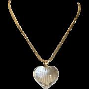 Fabulous Large Rock Crystal Heart 14K Gold Vintage Pendant 32 mm Signed CC