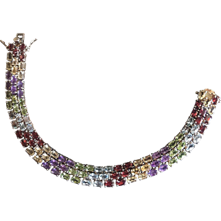 Vintage Rainbow Semi Precious Natural Gemstones Three Rows Tennis Bracelet Gilt Silver Natural Colors Blue Yellow Green Violet Dark Red