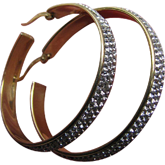Vintage Gypsy Crystal Pave Earrings 14K Gold Filled Sterling Silver Hoops 38 mm Signed