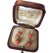Victorian Coral Earrings 10K Gold Dormeuse Day & Night Red Coral Dangles in Original Box