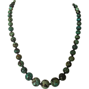 Antique Chinese Old Mine Turquoise Bead Necklace Dark Matrix Gilt on Sterling Silver 56.5 grams