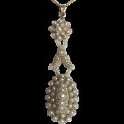 Marvelous Antique Seed Pearls Bridal Wedding Pendant 75 mm