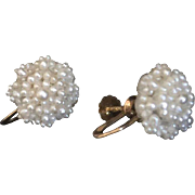 Antique Victorian Seed Pearls 14K Gold Earrings