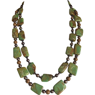 """High Quality American Green Turquoise Natural Undyed Two Strands Copper Findings 158g 26"""" Long Circa 1960's"""