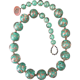 """Vintage Venetian Green Aventurine Sommerso Glass Bead Necklace Graduated 17"""" Long"""
