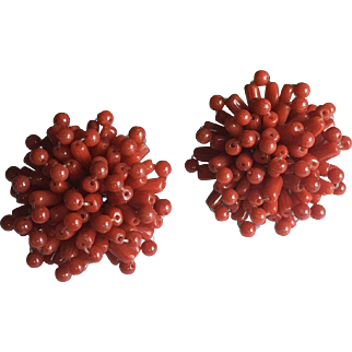 Red Coral Natural Undyed Earrings 30 mm Diameter 14.4 grams Circa 1970's