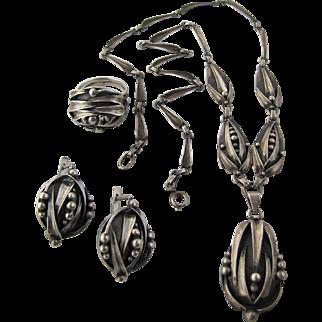 Rare Russian PEA IN A POD Necklace Earrings Ring Silver Kokoshnik Mark facing right Circa 1908-1926