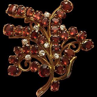 Flower Bouquet of Natural GARNET Gold Filled Large Brooch Circa 1940's Size 55 mm x 50 mm