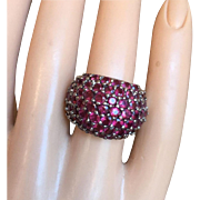 Vintage Cluster Garnet Pave Cocktail Ring Silver Size 6.25 Bold and Beautiful