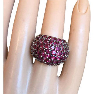 Vintage Cluster Almandine Garnet Cocktail Ring Silver Size 6.25 Bold and Beautiful