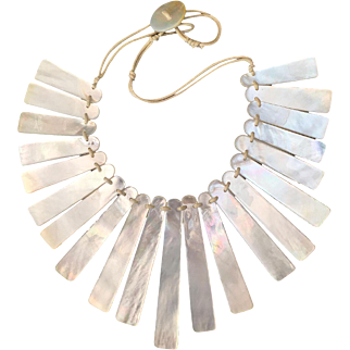 Impressive Vintage Cleopatra Collar Bib Mother of Pearl Necklace