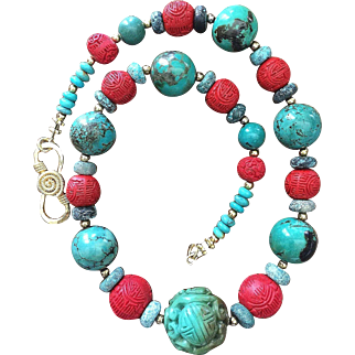 """Chinese Turquoise Necklace with Vintage Carved Beads Cinnabar Turquoise 19.5"""" Long"""